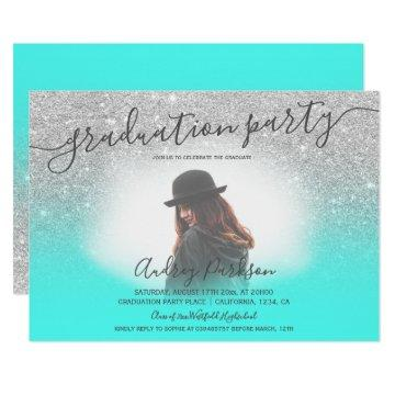 Silver glitter turquoise chic photo graduation invitation