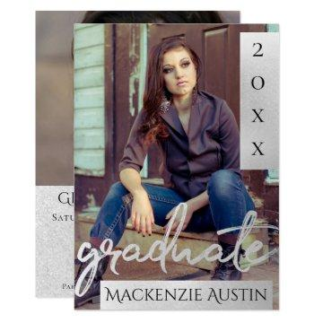 Silver Graduate | Trendy Platinum Brush Grad Photo Invitation