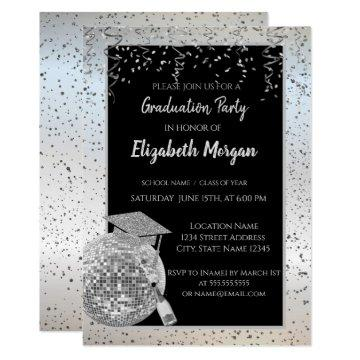 Silver  Graduation Cap,Disco Ball Confetti, Wine Invitation