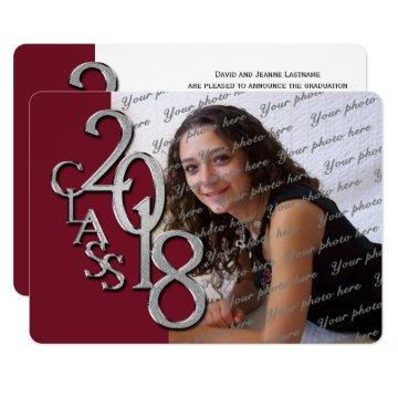 Silver Maroon 2018 Photo Graduation Invitation