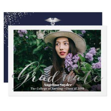 Silver Navy Blue Nursing School Graduation Photo Invitation