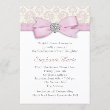 Silver Pink Damask Photo Graduation Announcements