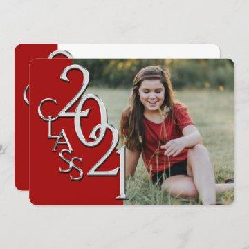 Silver Red 2021 Photo Graduation Invitation