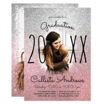 Silver Rose Gold Glitter Ombre Photo Graduation Invitation