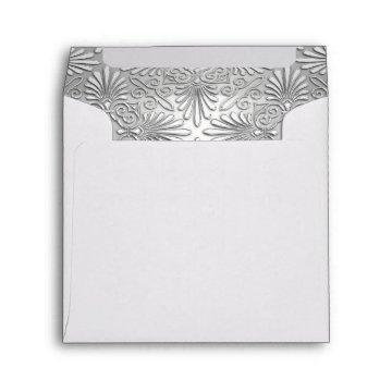 Silver White Art Deco Damask Fancy Envelope