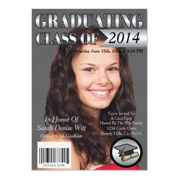 Silver & White Graduating Class Magazine Cover Card