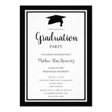 Simple Black White Modern Graduation Party