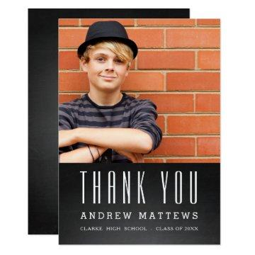 Simple Chalkboard Photo Graduation Thank You Card