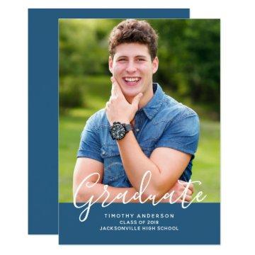 Simple Elegant Photo Graduation Vertical | Blue