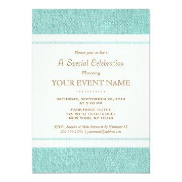 Simple Elegant Turquoise Blue, Stylish Invitation