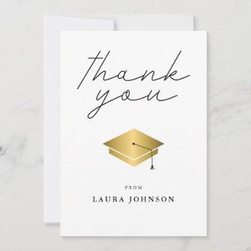 Simple Gold Cap Graduation Photo Thank You Card