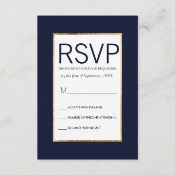 Simple Gold Lined Navy Blue RSVP Cards