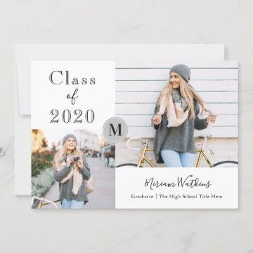 Simple Gray Monogram Photo Graduation Announcement