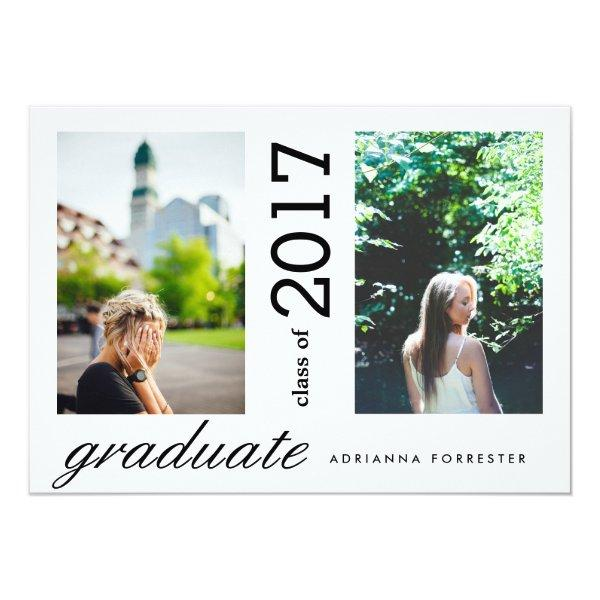 Simple Modern Graduate Two Photos Card