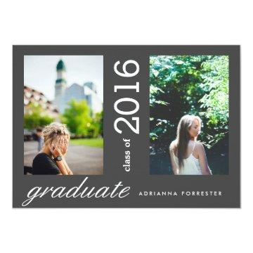 Simple Modern Graduate Two Photos Charcoal Black Card