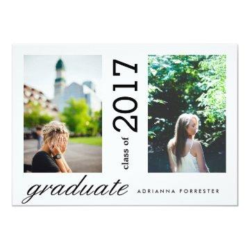 Simple Modern Graduate Two Photos Invitation
