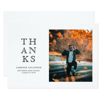 Simple photo graduation thank you note