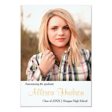 Simple Photo Peach Name-3x5Graduation Announcement
