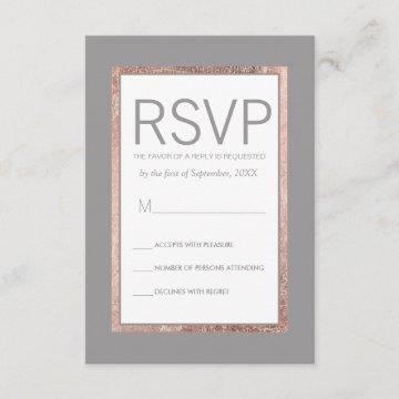 Simple Rose Gold Lined Slate Gray RSVP Cards