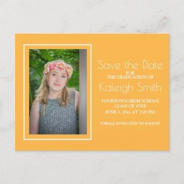 Simple Yellow White Graduation Save the Date Announcement Postcard