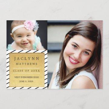 Simply Chic Photo Graduation Announcement / Gold