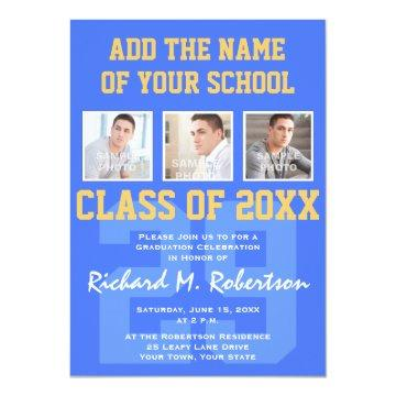 Sky Royal Blue and Gold Athlete's Graduation Invitations