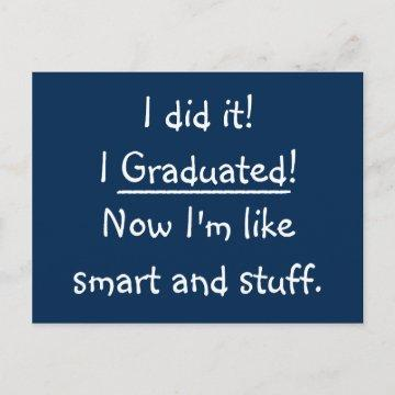 Smart Grad Funny Graduation Party Invitation Card