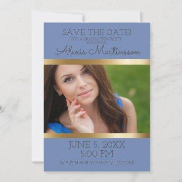 Soft Blue Gold Graduation Party Save Date Photo Save The Date