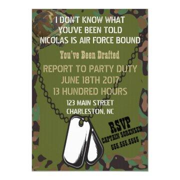 Soldier Joe Camouflage Celebration Party Invitation
