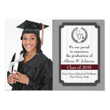 Sophisticated Medical Graduation Photo Card