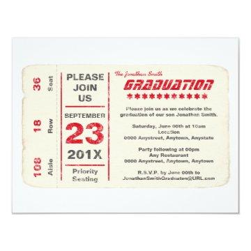 Sports Star Ticket Graduation, Red Invitation