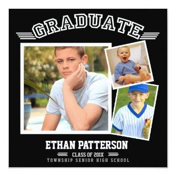 Sporty 3 Photo Graduation Announcement Black White