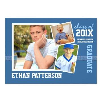 Sporty 3 Photo Graduation Announcement Blue White