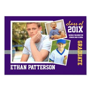 Sporty 3 Photo Graduation Announcement Purple Gold