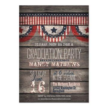 Stars & Stripes on Rustic Wood Graduation Party Card