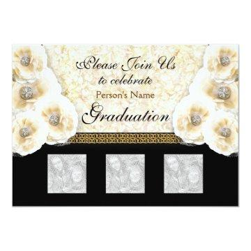 Stylish black gold graduation girls invitation