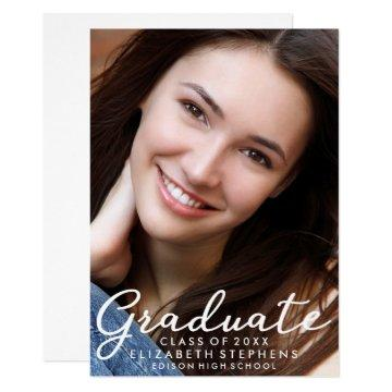 Stylish Cool Graduation Photo Announcement