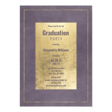 Stylish dark lavender lilac gold Graduation Party Invitation