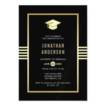 Stylish Gold Border & Grad Cap | Graduation Party Magnetic Invitation