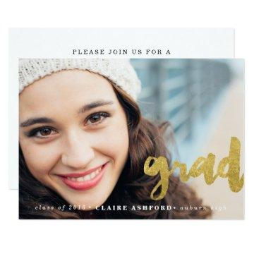 Stylish Script Gold Graduation Photo