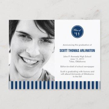 Stylish Stripes Graduation Announcement/Invitation Invitation Postcard