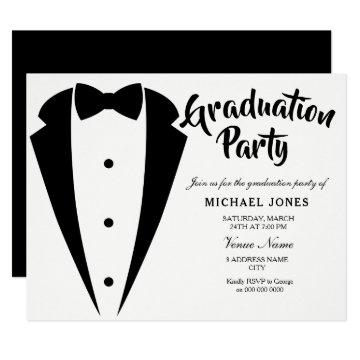 Suit & Tie Boys Mens Graduation Party Invite