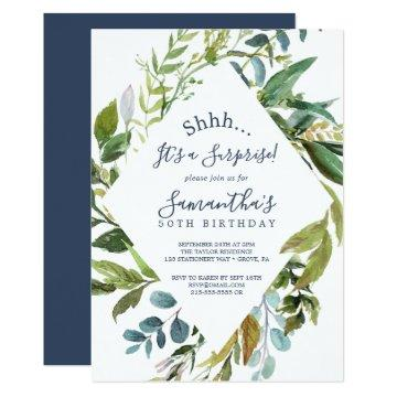 Summer Greenery Diamond Wreath Surprise Party Invitation