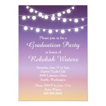 Summer Sunset Lights Graduation Party Card