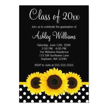 Sunflower Black Polka Dots Graduation Announcement