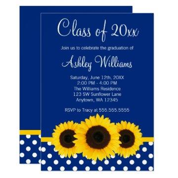 Sunflower Blue Polka Dots Graduation Announcement