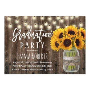 Sunflower Floral Jar Rustic Barn Wood Graduation Invitation