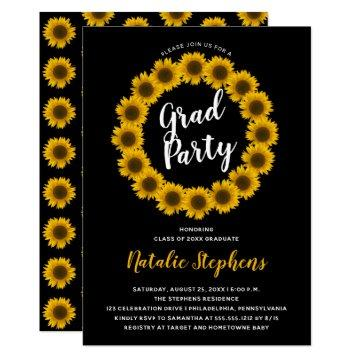 Sunflower Floral Wreath Graduation Party Invitation