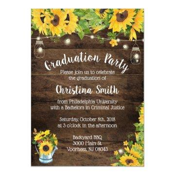 Sunflower Graduation Party - Country Rustic Invitation
