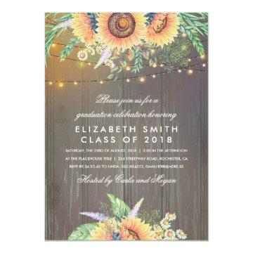 Sunflower Rustic String Lights Graduation Party Invitation